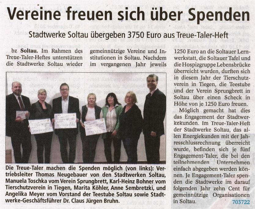 Spende Stadtwerke Soltau 2015 - BZ